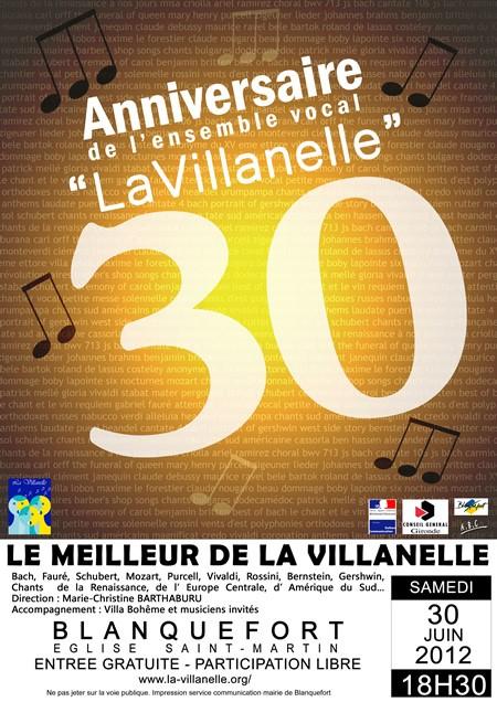 30 ANS DE LA VILLANELLE&nbspConcert anniversaire