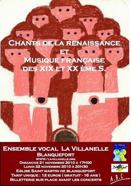 Concert de la Villanelle&nbspDe la Renaissance au XXe